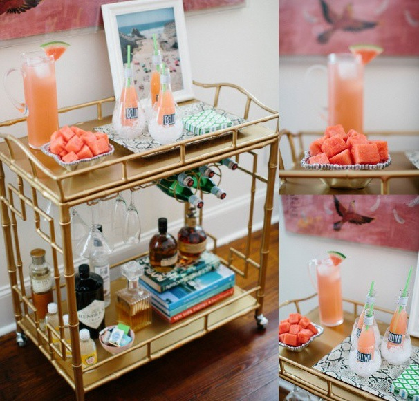 i stumbled upon another rendition of my beloved bar cart the stacked books add height and style u2013 a winning combination - How To Style A Bar Cart